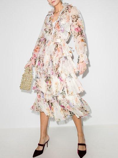 Brighton ruffle floral print midi dress