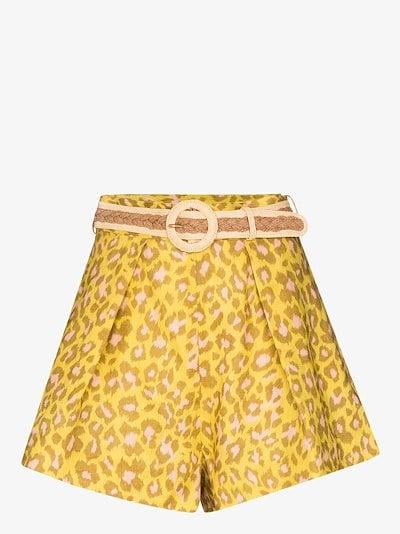 Carnaby leopard print linen shorts