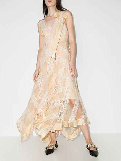 Charm lace trim silk gown
