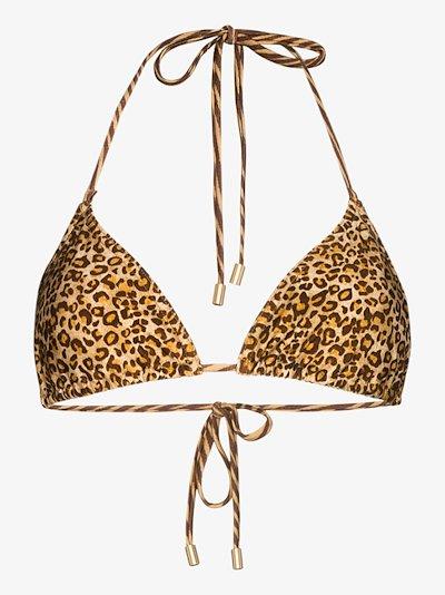 Empire leopard triangle bikini top