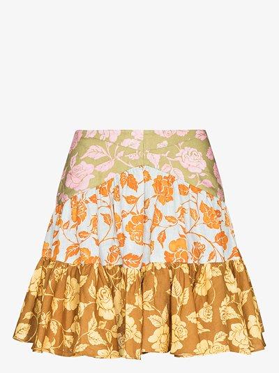 Lovestruck Rose Print Ruffled mini skirt