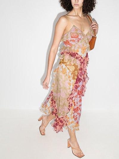 Lovestruck rose print ruffled slip dress