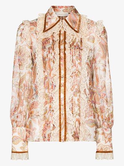 Lucky lace collar silk blouse