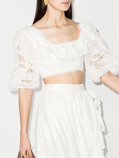 Lulu ruffle trim cropped blouse