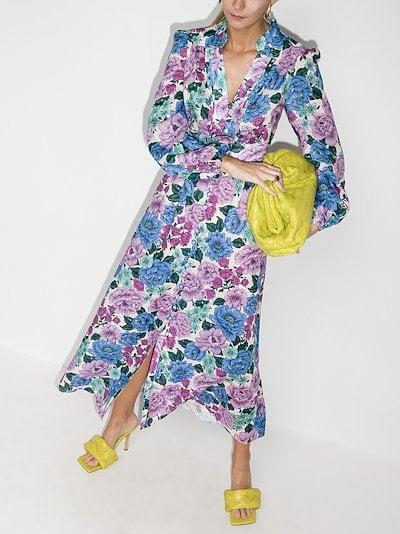 Poppy floral print linen midi dress