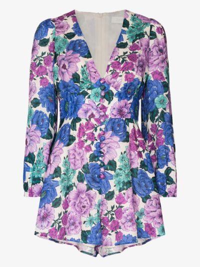Poppy floral print linen playsuit