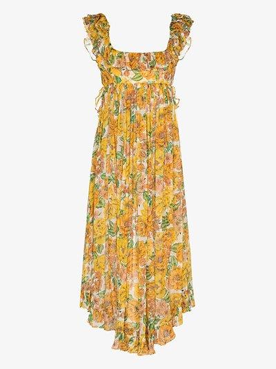 Poppy frill floral silk midi dress