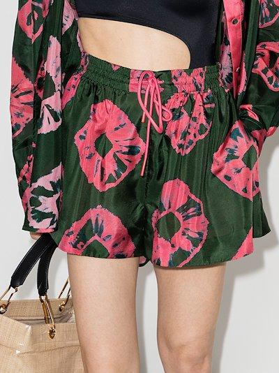 poppy tie-dye silk shorts