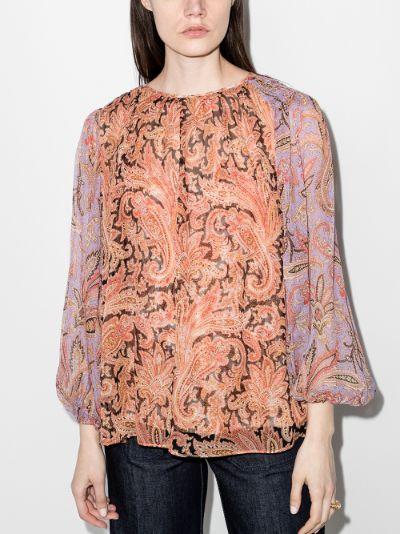 sheer sleeve paisley blouse