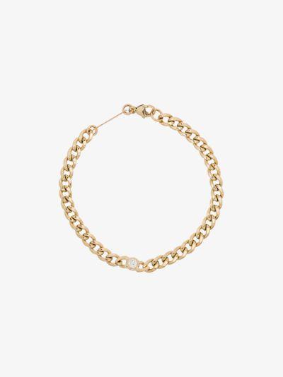 14K yellow gold curb chain diamond bracelet