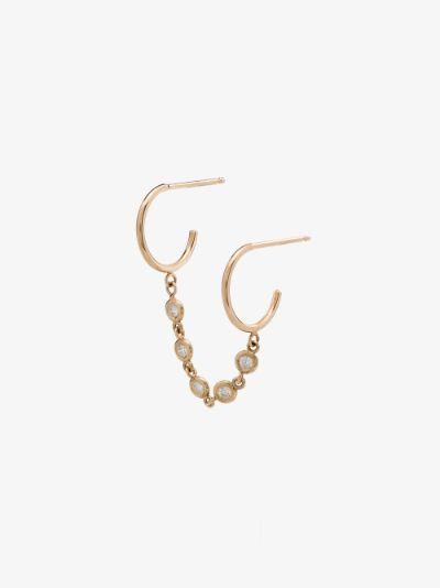 14K yellow gold diamond chain double hoop earring