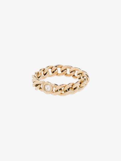 14K yellow gold medium curb chain diamond ring