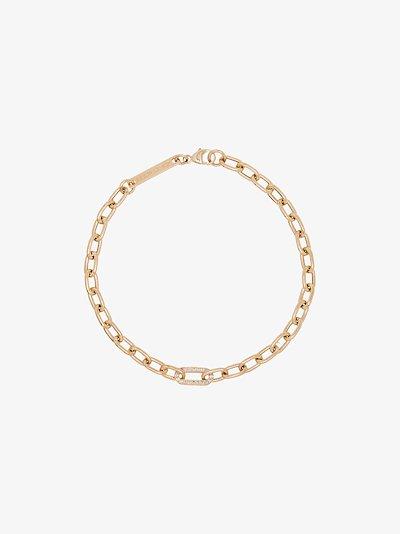 14K yellow gold medium square chain pavé diamond bracelet
